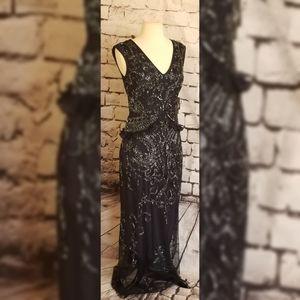 NWT Adrianna Papell navy  ruffle dress